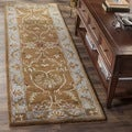 Handmade Heritage Shahi Brown/ Blue Wool Runner (2&#39;3 x 12&#39;)