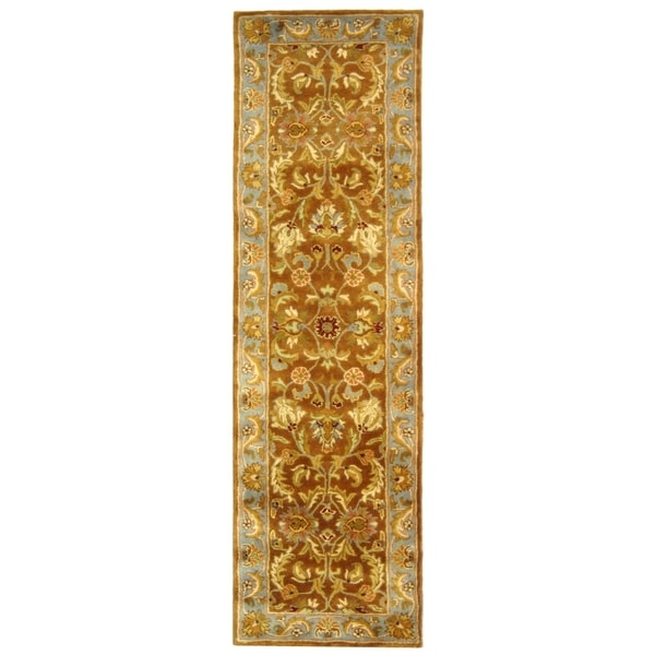 Safavieh Handmade Heritage Shahi Brown/ Blue Wool Runner (2'3 x 14')