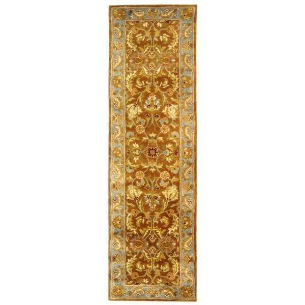 Safavieh Handmade Heritage Shahi Brown/ Blue Wool Runner (2'3 x 8')