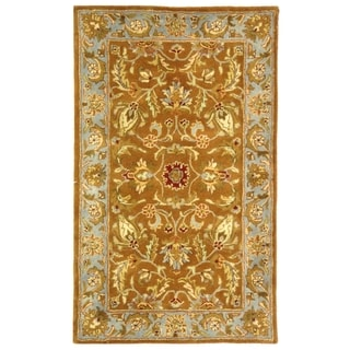 Handmade Heritage Shahi Brown/ Blue Wool Rug (3' x 5')