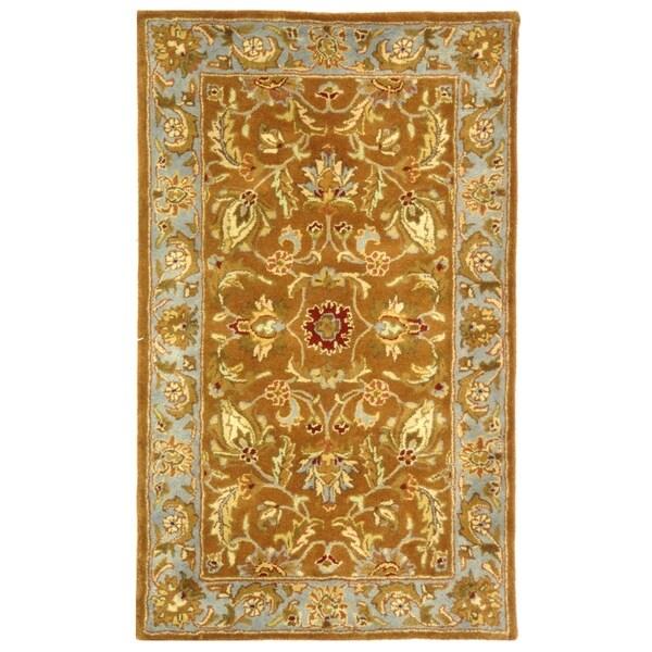 Safavieh Handmade Heritage Shahi Brown/ Blue Wool Rug (3' x 5')