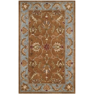 Handmade Heritage Shahi Brown/ Blue Wool Rug (3&#39; x 5&#39;)