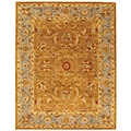 Handmade Heritage Shahi Brown/ Blue Wool Rug (4' x 6')