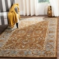 Handmade Heritage Shahi Brown/ Blue Wool Rug (5' x 8')
