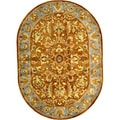 Handmade Heritage Shahi Brown/ Blue Wool Rug (4'6 x 6'6 Oval)