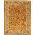 Handmade Heritage Shahi Brown/ Blue Wool Rug (6' x 9')