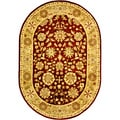 Safavieh Handmade Kashan Burgundy/ Beige Wool Rug (4'6 x 6'6 Oval)