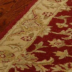 Handmade Antiquities Jewel Red/ Ivory Wool Runner (2'3 x 14')
