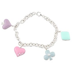 Sterling Silver CZ Enamelled Poker Suits Charm Bracelet