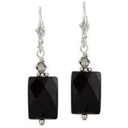 Charming Life Silver Black Onyx and Crystal Earrings