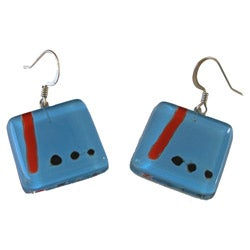 Square Fused Glass Blue Miro Earrings (Chile)