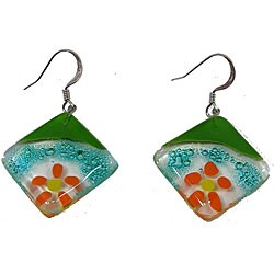 Fused Glass 'Floating Flower' Rhomboid Earrings (Chile)