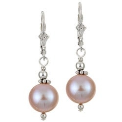 Charming Life Sterling Silver Pastel Pink FW Pearl Earrings (9-10 mm)
