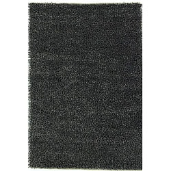 Hand-woven Black/ White Polyester Rug (6' x 9')