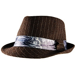 Yesac Unisex Brown Pinstriped Fedora Hat