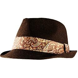 Yesac Unisex Brown Wool Paisley Fedora Hat
