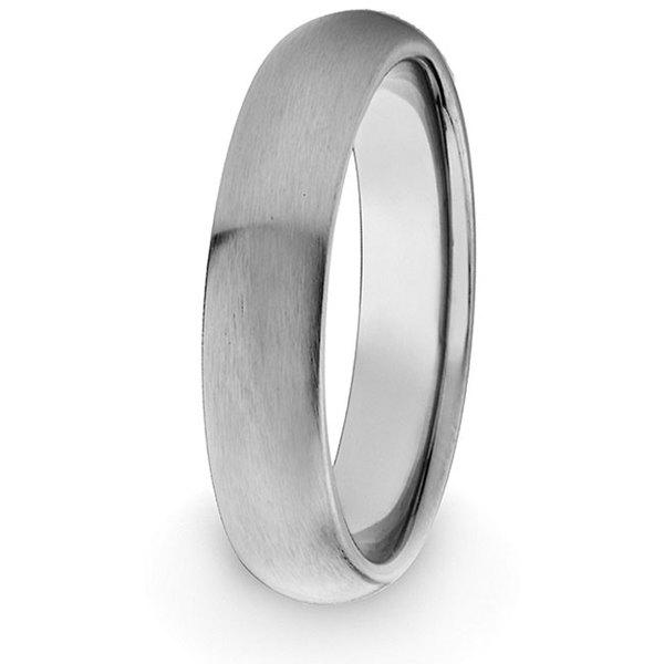 Men's Titanium Domed Brushed Comfort-fit Band (4 mm)