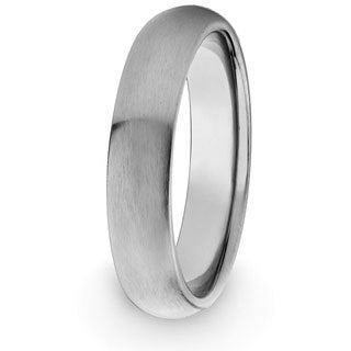 West Coast Jewelry Men's Titanium Domed Brushed Comfort-fit Band (4 mm)