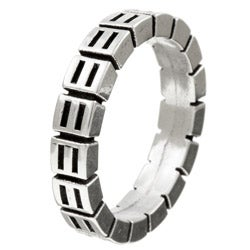 Kabella Gerald David Bauman Silver Grooved Commitment Ring