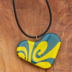 Fused Glass Teal and Yellow Heart Necklace (Chile)