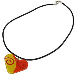 Fused Glass '1960s Orange and Yellow' Heart Necklace (Chile)