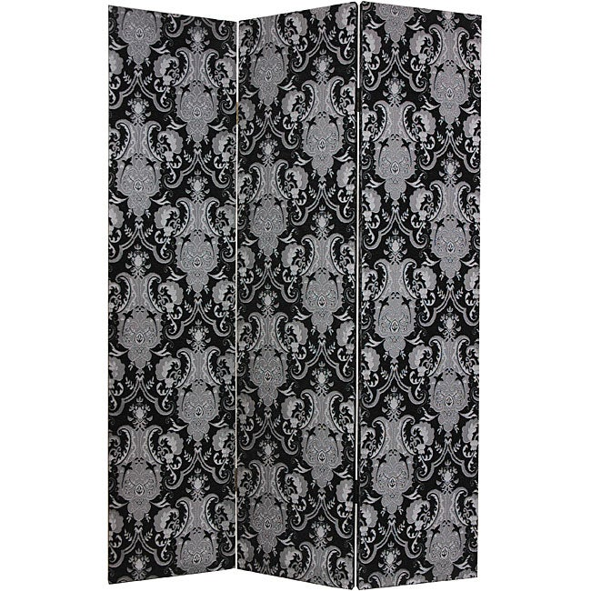 Wood and Canvas Fabric Damask Black Room Divider (China)