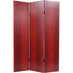 Faux Leather Red Snakeskin Double-sided Room Divider (China)