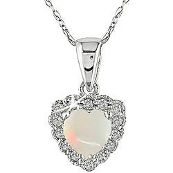 Miadora 10k White Gold Opal/ Diamond Heart Necklace
