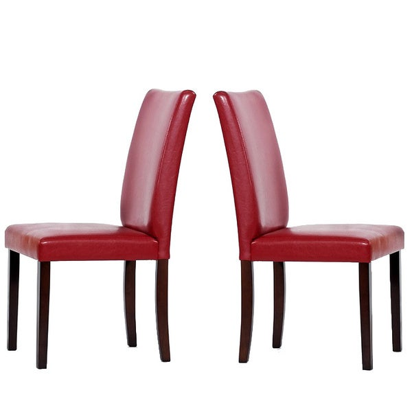 Shino Bi-cast Leather Chairs Red (Set of 4)