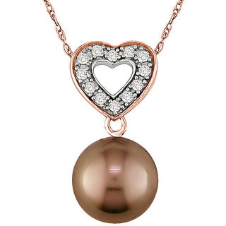 10k Gold FW Pearl and 1/10ct TDW Diamond Necklace (10-11 mm)