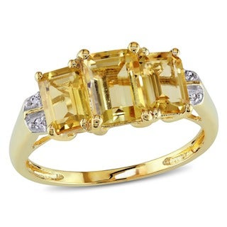 Miadora 10k Yellow Gold Emerald-cut Citrine Diamond Ring