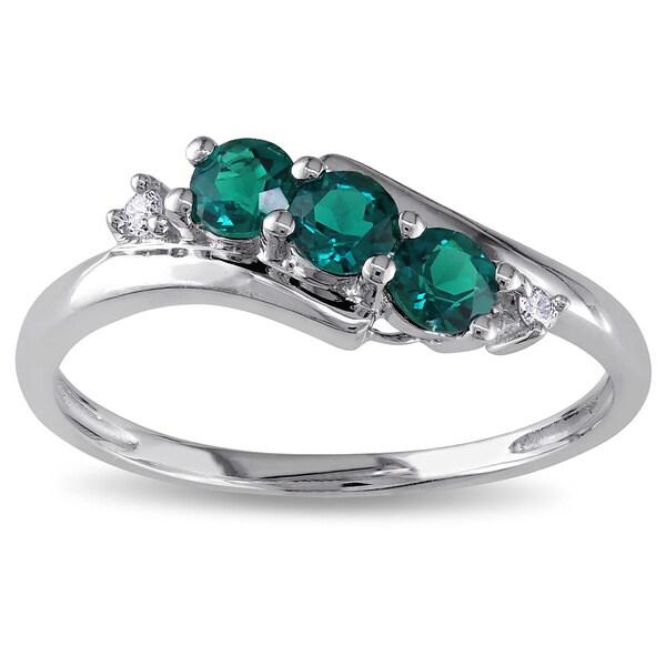 Miadora 10k Gold Created Emerald and 1/3ct TDW Diamond Ring (I-J, I2-I3)