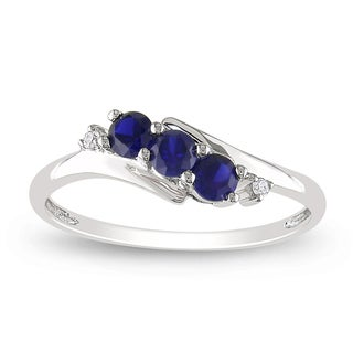 Miadora 10k White Gold Created Sapphire and Diamond Ring with Bonus Earrings