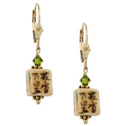 Charming Life 14k Goldfill Asian Art Glass Cube Earrings
