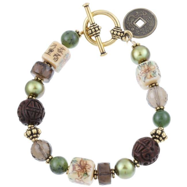 Charming Life Goldtone Asian Art Glass Cube Bracelet