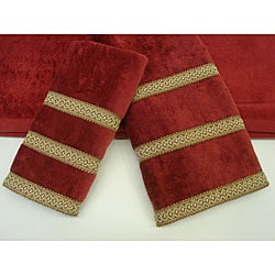 Sherry Kline Triple Row Fancy Gimp Three-Piece Decorative Cotton Towels