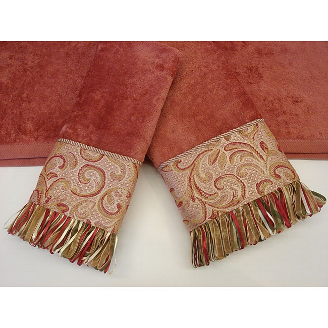 Sherry Kline Swirl Paisley Coral Decorative 3-piece Towel Set