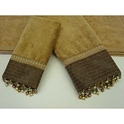 Sherry Kline Basket Leather 3-piece Decorative Towels