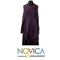 Alpaca Wool 'Double Plum Braids' Poncho (Peru)
