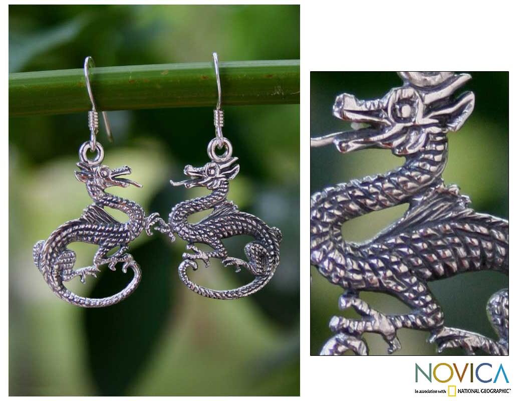 Sterling Silver 'Dragon Duet' Earrings (Thailand)