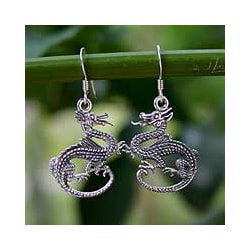 Sterling Silver 'Dragon Duet' Earrings (Thailand)