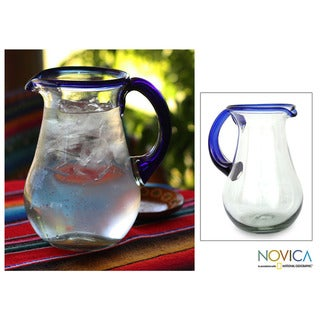 Glass 'Blue Grace' Pitcher (Mexico)