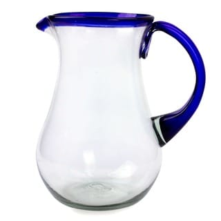 Hand Blown Glass Blue Grace Pitcher (Mexico)