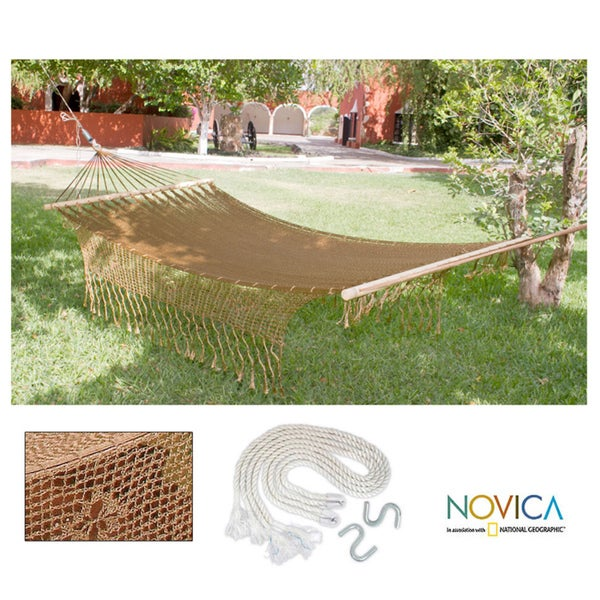 Maya Bronze Outdoor Garden Patio Pool Copper Color Vintage Look Handmade Knotted Macrame Fringe Nylon Single Hammock (Mexico)