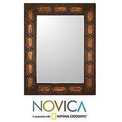 Helix Geometric Inca Design Home Decor Artisan Handmade Brown Gold Earth Tones Handsome Handtooled Leather Wall Mirror (Peru)