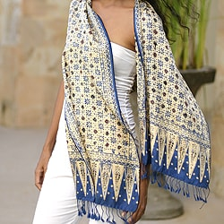 Silk 'Blue Jasmine' Batik Scarf (Indonesia)