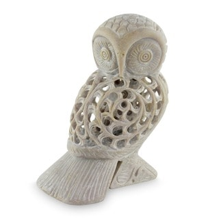 Soapstone 'Mother Owl' Sculpture , Handmade in India