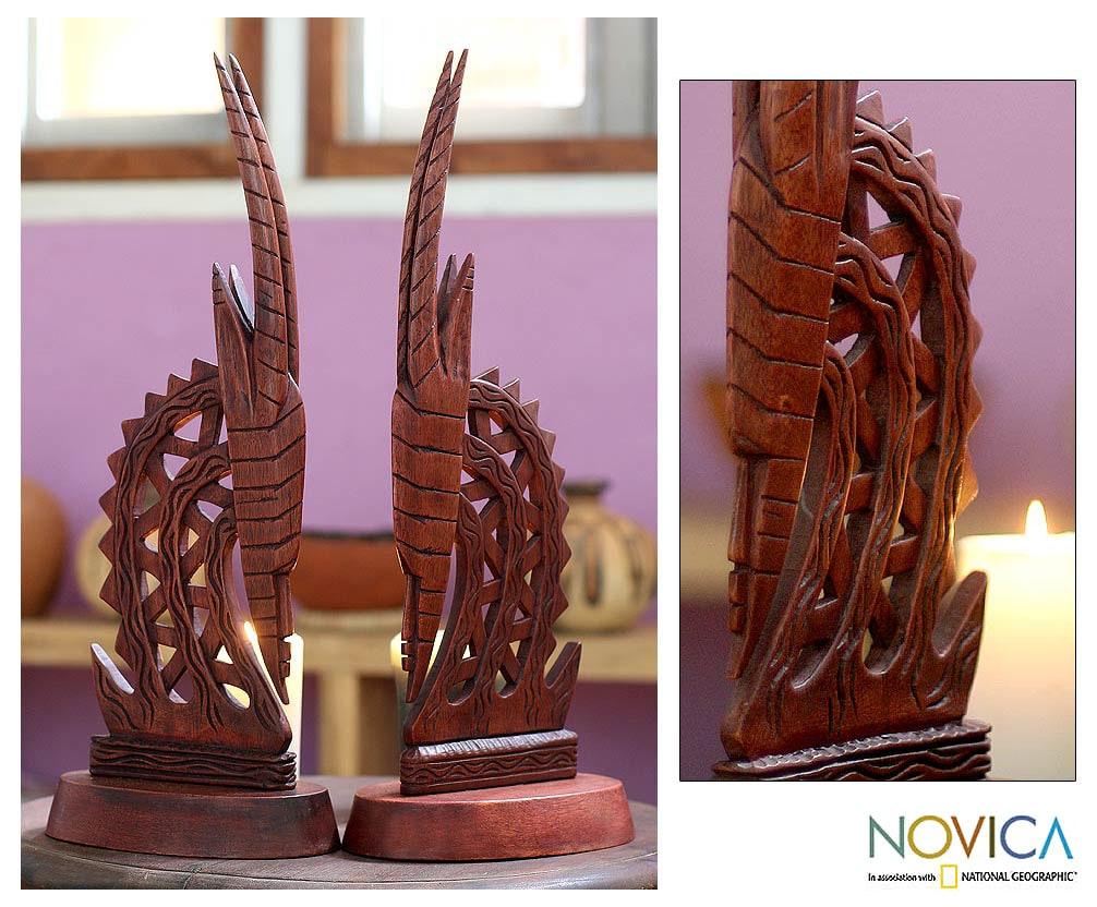 Set of 2 Wood 'Bambara Antelopes' Statues (Ghana)
