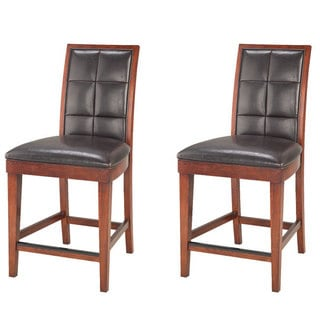 Biscuit Back Leather-Wood Counter Stool (Set of 2)