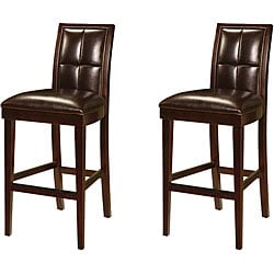 Biscuit Back Leather-Wood Barstool (Set of 2)